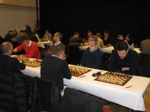 Från vänster till höger- Erik Hedman, Jonas Barkhagen, Erik Blomqvist och Peter Heine Nielsen under första matchen