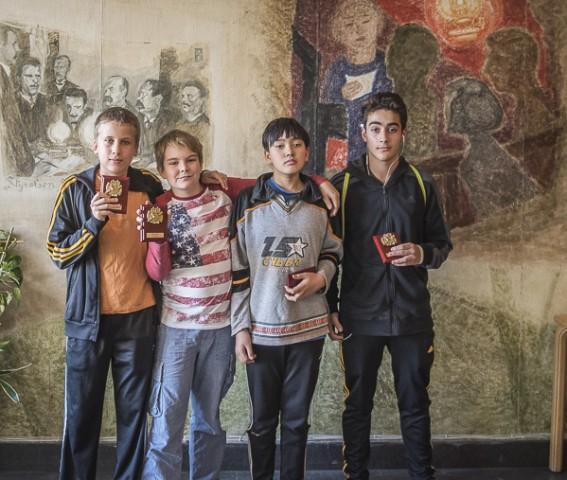 Från vänster- Leo, Simon, Philip och Pitor. Foto Lars OA Hedlund